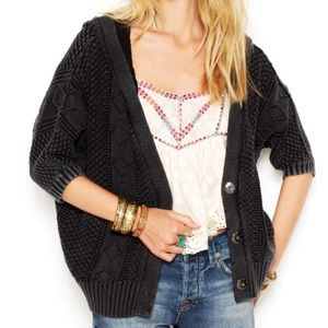 Free People Washed Out Hooded Knit Cardigan